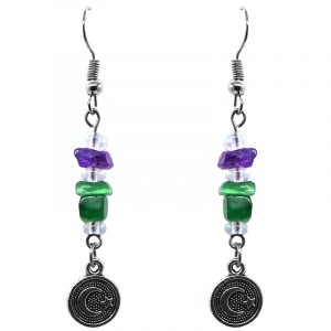 Handmade round-shaped silver metal crescent half moon and star charm dangle earrings with chip stones in clear white, purple, and green color combination.