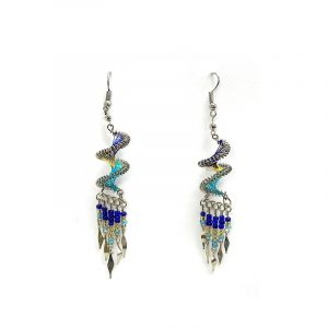 Spiral-shaped silk thread earrings with long seed bead and alpaca silver metal dangles in turquoise, blue, and gold color combination.
