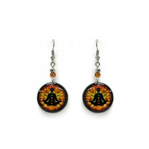 Round-shaped New Age themed chakra graphic acrylic dangle earrings with beaded metal hooks in golden yellow, orange, and black color combination.