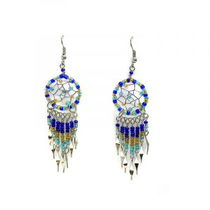 Handmade round beaded dream catcher earrings with long seed bead and alpaca silver dangles in blue, gold, and turquoise color combination.