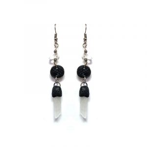 Handmade round-shaped durepox resin earrings with chip stone and clear quartz crystal point dangle in black and clear color combination.