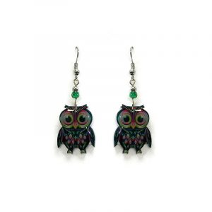 Big eyed owl acrylic dangle earrings with beaded metal hooks in turquoise, hot pink, lime green, black, and white color combination.