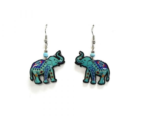 Tribal pattern elephant acrylic dangle earrings with beaded metal hooks in turquoise blue and multicolored color combination.