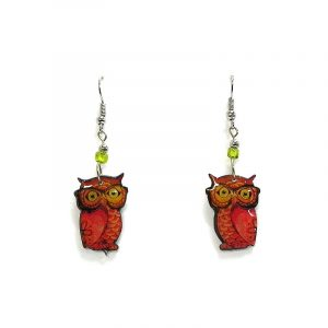 Nerd owl acrylic dangle earrings with beaded metal hooks in orange and golden yellow color combination.