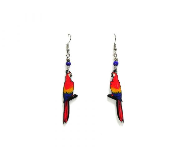 Scarlet macaw parrot acrylic dangle earrings with beaded metal hooks in red, yellow, and blue color combination.