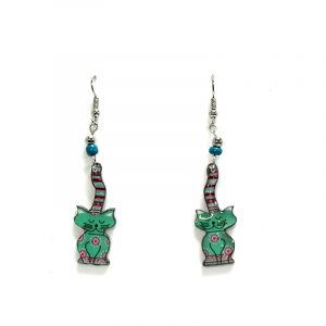 Tribal pattern cat acrylic dangle earrings with beaded metal hooks in mint turquoise, hot pink, black, and white color combination.