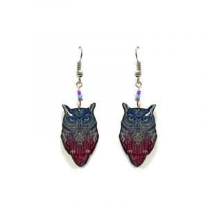 Psychedelic owl acrylic dangle earrings with beaded metal hooks in blue, dark pink, and white color combination.
