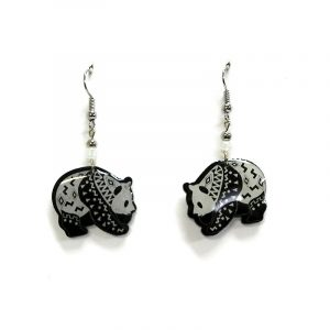 Tribal pattern panda bear acrylic dangle earrings with beaded metal hooks in black and white color combination.