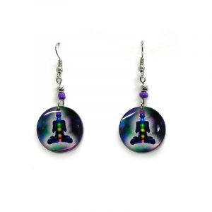 Round-shaped New Age themed chakra graphic acrylic dangle earrings with beaded metal hooks in dark purple, blue, and multicolored color combination.