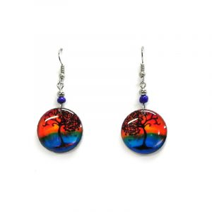 Round-shaped New Age themed sunset tree of life graphic acrylic dangle earrings with beaded metal hooks in orange, blue, and black color combination.
