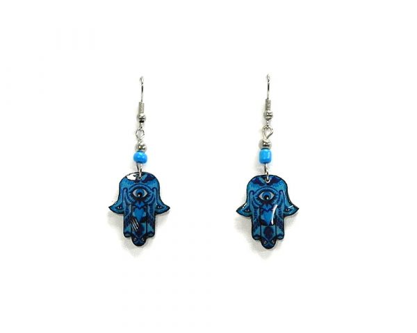 Hamsa hand acrylic dangle earrings with beaded metal hooks in blue, turquoise, and dark blue color combination.