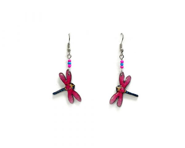 Cartoon dragonfly acrylic dangle earrings with beaded metal hooks in hot pink, blue, and beige color combination.