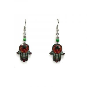 Lotus hamsa hand acrylic dangle earrings with beaded metal hooks in green, white, red, orange, and golden yellow color combination.