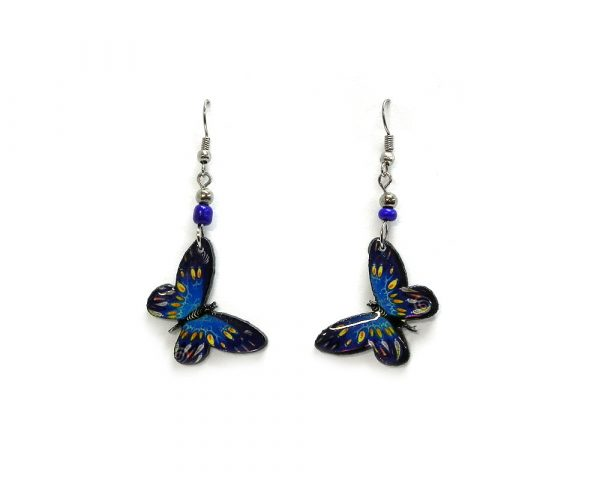 Butterfly acrylic dangle earrings with beaded metal hooks in blue, turquoise, and yellow color combination.
