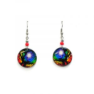 Round-shaped New Age themed mystic tree of life graphic acrylic dangle earrings with beaded metal hooks in rainbow color combination.