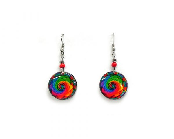 Round-shaped New Age themed yin yang graphic acrylic dangle earrings with beaded metal hooks in rainbow colors.