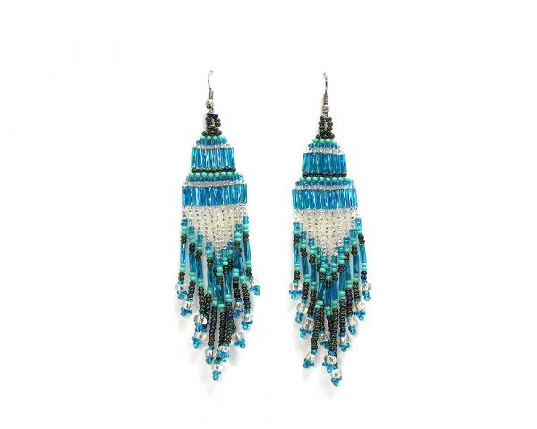 Extra long multicolored Czech glass seed bead chandelier fringe dangle earrings in light blue, turquoise, and silver color combination.