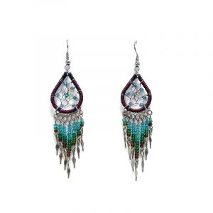 Handmade teardrop-shaped beaded thread dream catcher earrings with long seed bead and alpaca silver dangles in brown, turquoise, and green color combination.