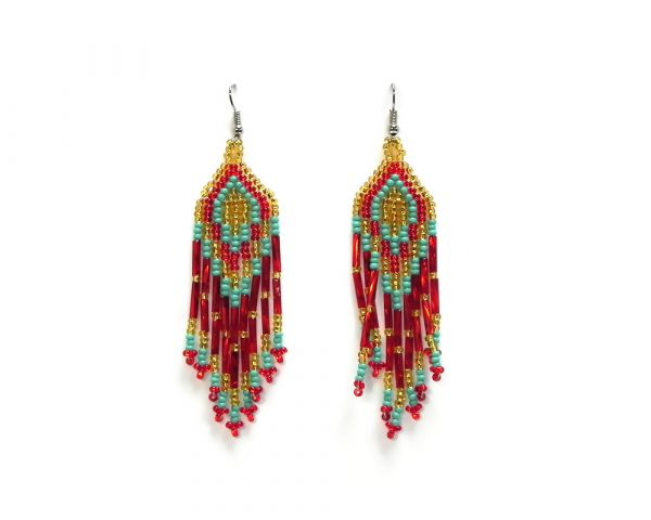 Long multicolored seed bead fringe dangle earrings in red, mint turquoise, and gold color combination.