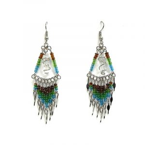 Handmade triangle-shaped beaded wire wrapped clear quartz crystal point earrings with long seed bead and alpaca silver metal dangles in brown, green, and turquoise blue color combination.