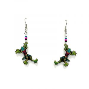 Floral pattern frog acrylic dangle earrings with beaded metal hooks in lime green and multicolored color combination.