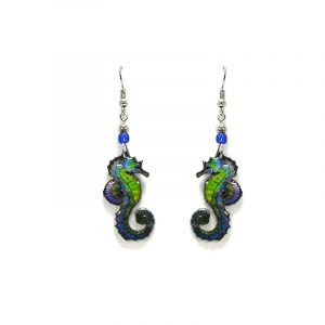 Seahorse acrylic dangle earrings with beaded metal hooks in lime green, turquoise, blue, and purple color combination.