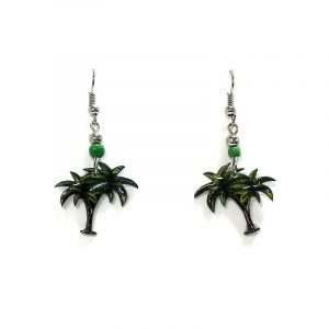 Palm tree acrylic dangle earrings with beaded metal hooks in dark green, lime green, and brown color combination.