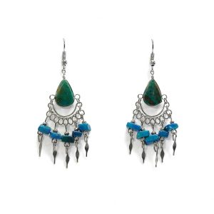 Teardrop-cut stone earrings with chip stones and alpaca silver metal dangles in teal green chrysocolla.