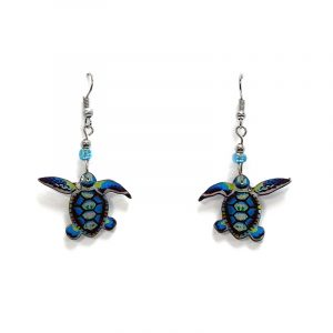 Art pattern sea turtle acrylic dangle earrings with beaded metal hooks in turquoise blue and multicolored color combination.