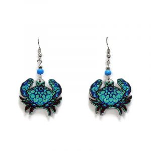 Psychedelic pattern crab acrylic dangle earrings with beaded metal hooks in turquoise and blue color combination.