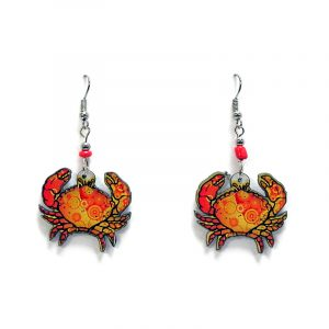 Psychedelic pattern crab acrylic dangle earrings with beaded metal hooks in orange, golden yellow, and red color combination.