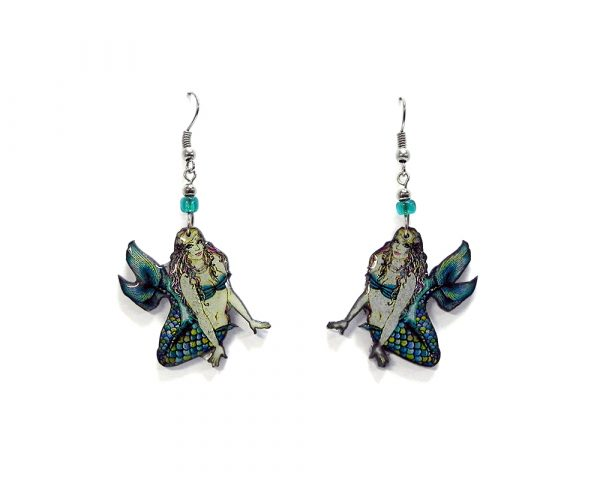 Gypsy mermaid acrylic dangle earrings with beaded metal hooks in turquoise blue, teal, lime green, and yellow color combination.