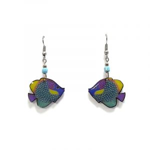 Tropical pattern fish acrylic dangle earrings with beaded metal hooks in pastel light blue, lavender purple, mint green, and yellow color combination.