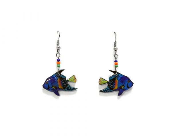 Tropical pattern fish acrylic dangle earrings with beaded metal hooks in turquoise blue, orange, yellow, and green color combination.
