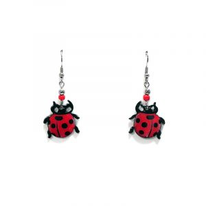 Ladybug acrylic dangle earrings with beaded metal hooks in red and black color combination.