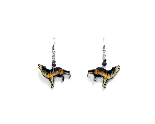 Howling wolf acrylic dangle earrings with beaded metal hooks in beige, dark brown, and black color combination.