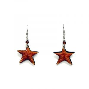 Starfish acrylic dangle earrings with beaded metal hooks in dark orange and golden yellow color combination.