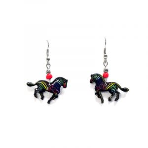 Zebra acrylic dangle earrings with beaded metal hooks in black and rainbow multicolored color combination.