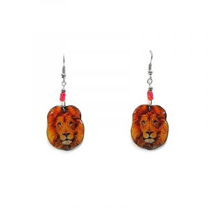 Lion face acrylic dangle earrings with beaded metal hooks in orange, golden yellow, and brown color combination.