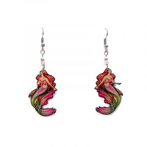 Redhead mermaid acrylic dangle earrings with beaded metal hooks in hot pink, dark red, olive green, and beige color combination.
