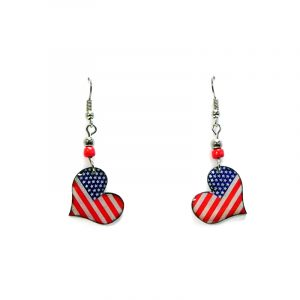 Heart-shaped American flag acrylic dangle earrings with beaded metal hooks in red, white, and blue color combination.