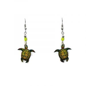 Tribal pattern sea turtle acrylic dangle earrings with beaded metal hooks in lime green, yellow, and dark green color combination.