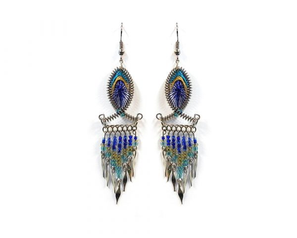 Fish-shaped silk thread earrings with long seed bead and alpaca silver metal dangles in turquoise, gold, and blue color combination.