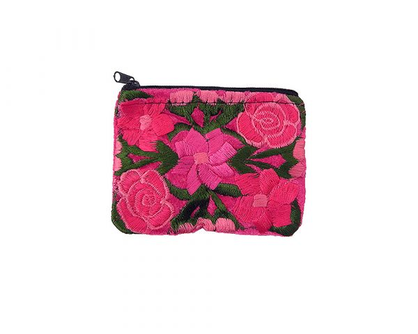 Handmade floral coin purse with embroidered cotton velvet, and zipper closure in hot pink.