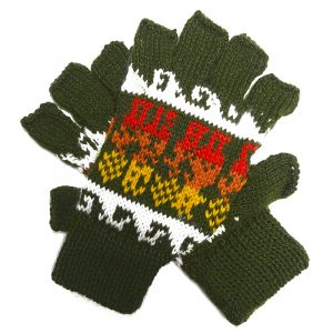 Handmade Peruvian knit fingerless gloves with soft woven alpaca wool and tribal print pattern in olive green, golden yellow, orange, red, and white colors.