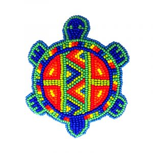 Handmade Czech glass seed bead turtle barrette with tribal pattern design and silver metal french hair clip in rainbow colors.