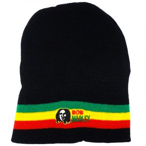 Handmade black knit beanie hat with horizontal stripes and embroidered Bob patch in Rasta colors.
