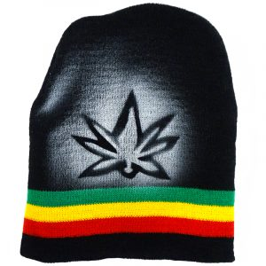Handmade black knit beanie hat with horizontal stripes and spray painted leaf design in Rasta colors.