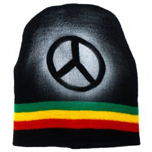 Handmade black knit beanie hat with horizontal stripes and spray painted peace sign design in Rasta colors.