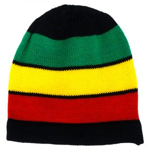 Handmade knit beanie hat with horizontal striped pattern in Rasta colors.